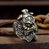 Chinese Ghost Catcher Zhong Kui Brass Mythology Ring