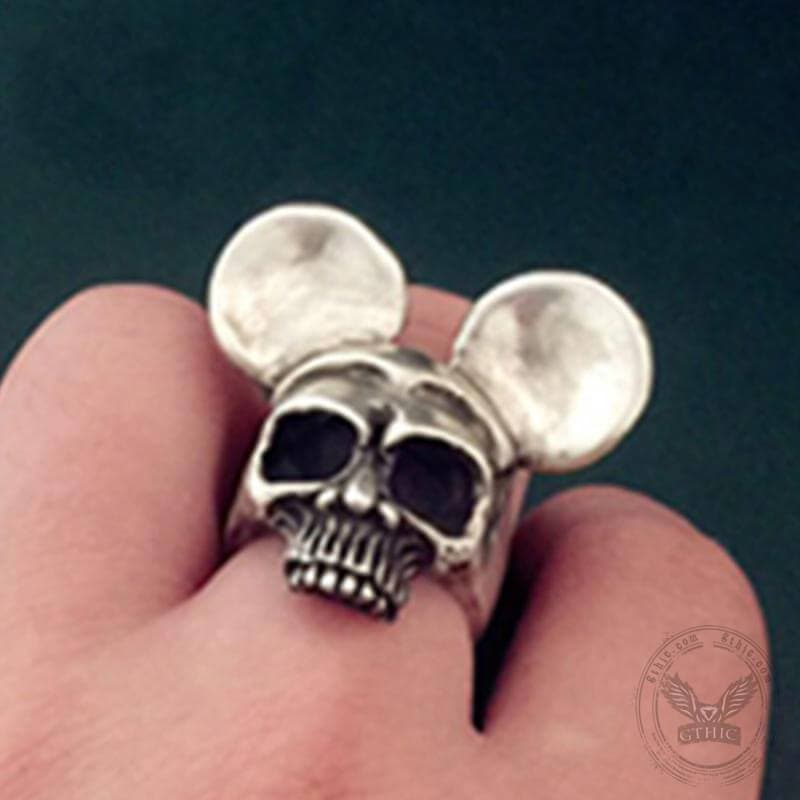 Classic Mickey Sterling Silver Skull Ring