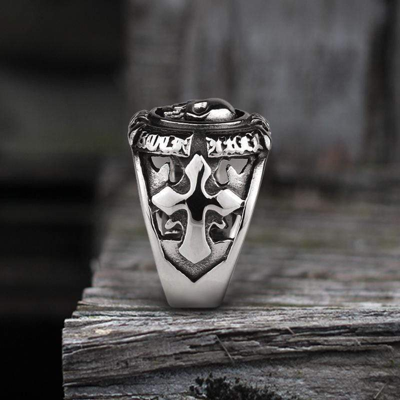 Cross Stainless Steel Skull Ring
