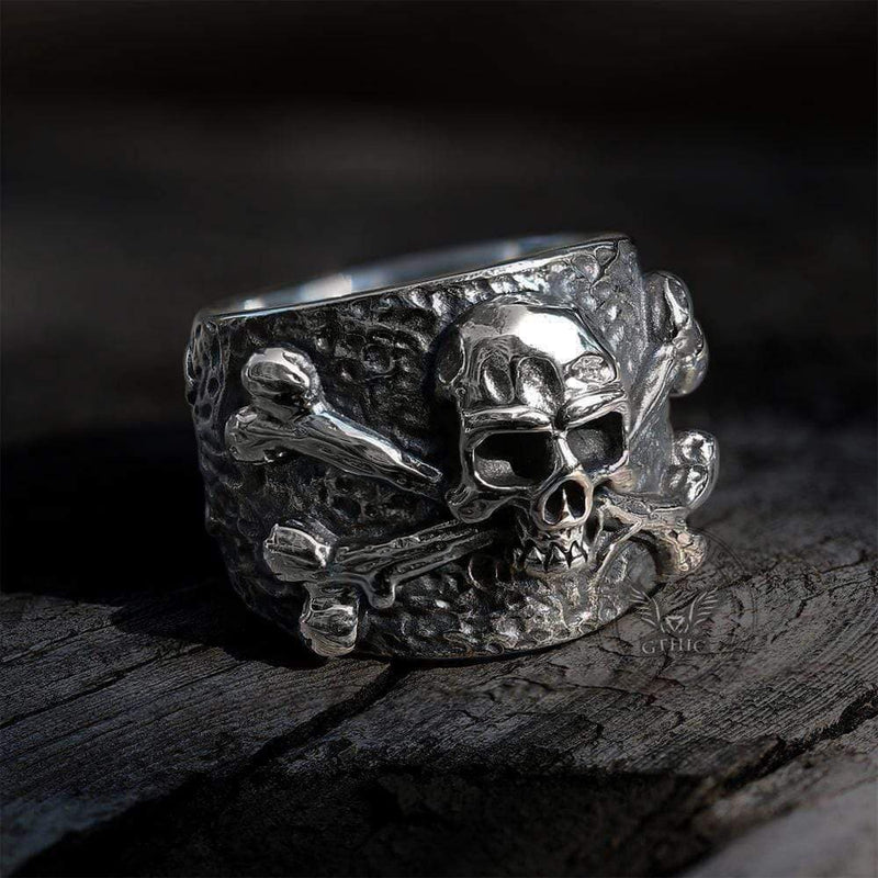 Crossbones Pirate Stainless Steel Skull Ring | Gthic.com