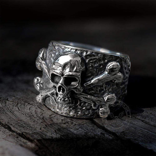 Crossbones Pirate Stainless Steel Skull Ring