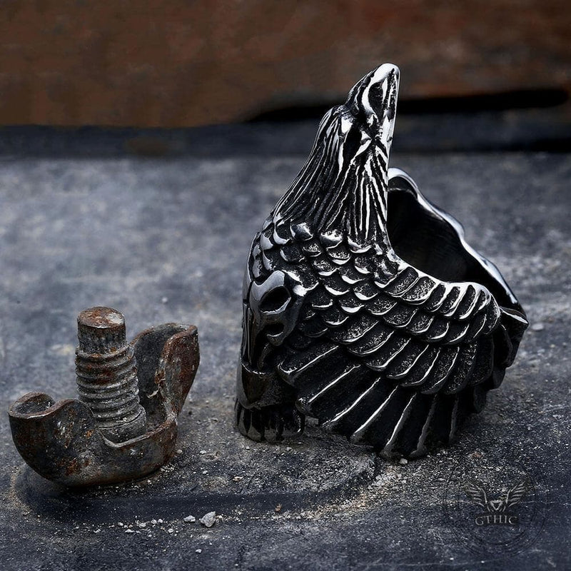Crow 316L Stainless Steel Beast Ring