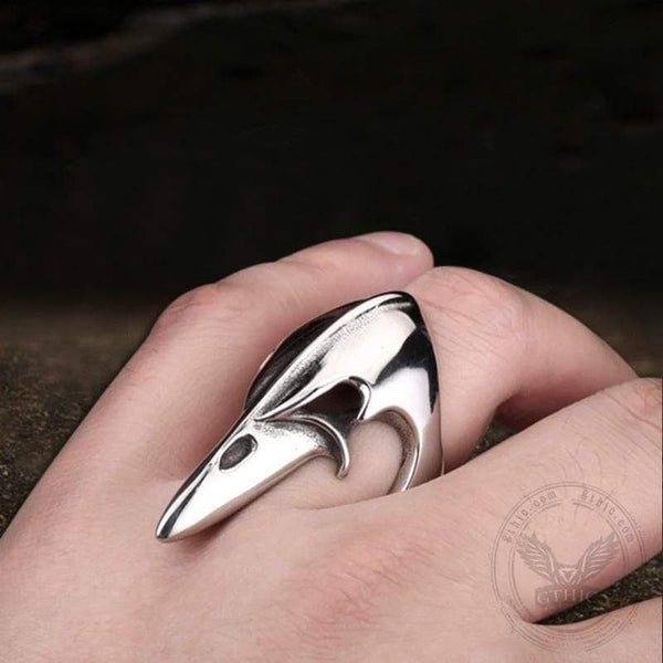 Crow Head Stainless Steel Beast Ring | Gthic.com