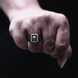 Cube Black Zircon Crystal Stainless Steel Skull Ring