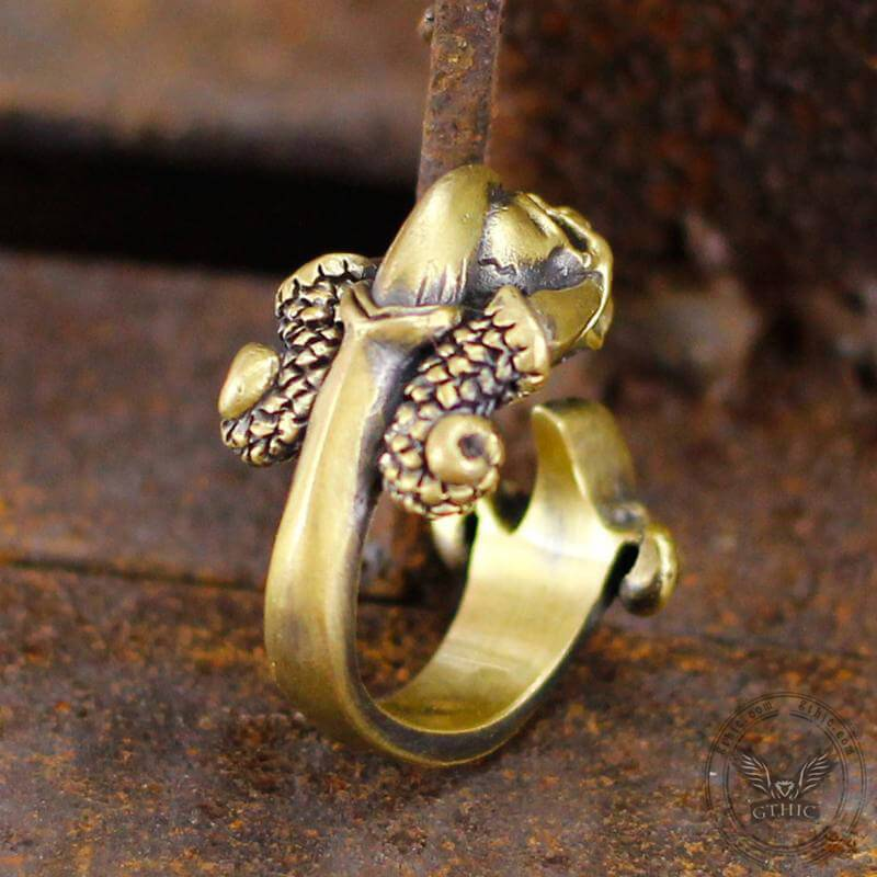 Dark Gothic Paw Brass Skull Ring