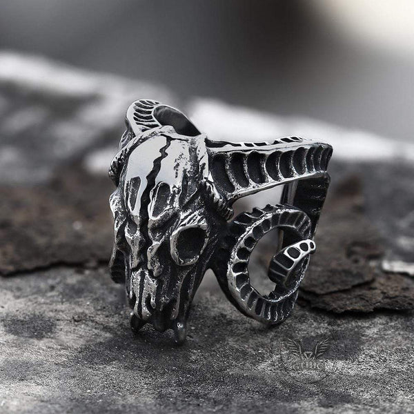 Domineering Sheep Head Stainless Steel Beast Skull Ring