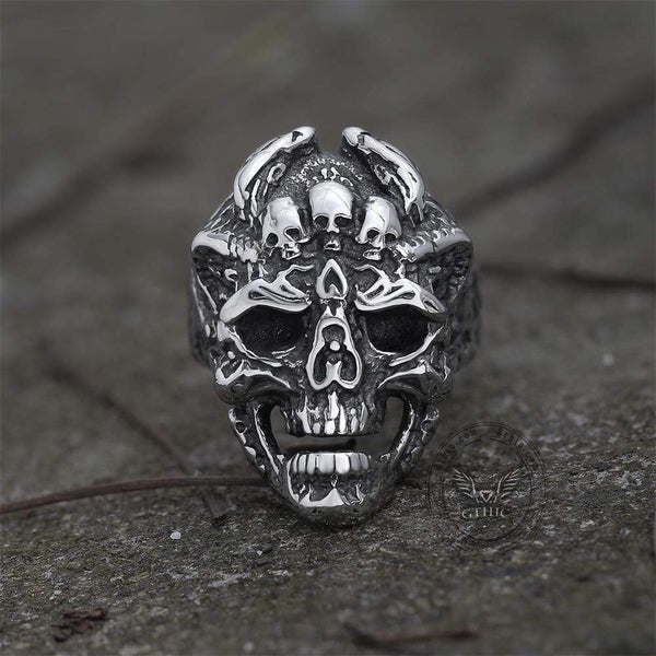 Double Dragon Stainless Steel Skull Ring