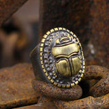 Dung Beetle Brass Egypt Ring