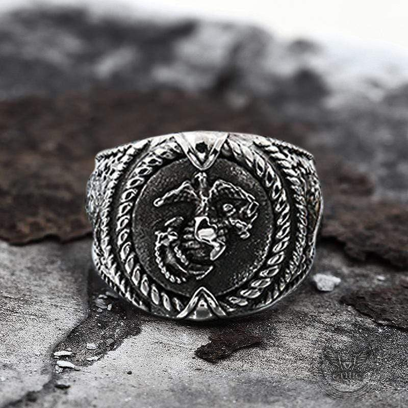 Eagle Globe Anchor Sterling Silver Marine Ring