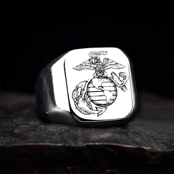 Eagle Globe And Anchor Stainless Steel Ring
