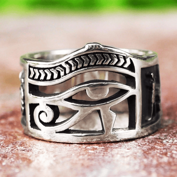 Egyptian Eye of Horus Ankh Stainless Steel Egypt Ring | Gthic.com