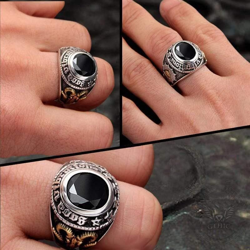 Eye of Providence Stainless Steel Goat Head Ring