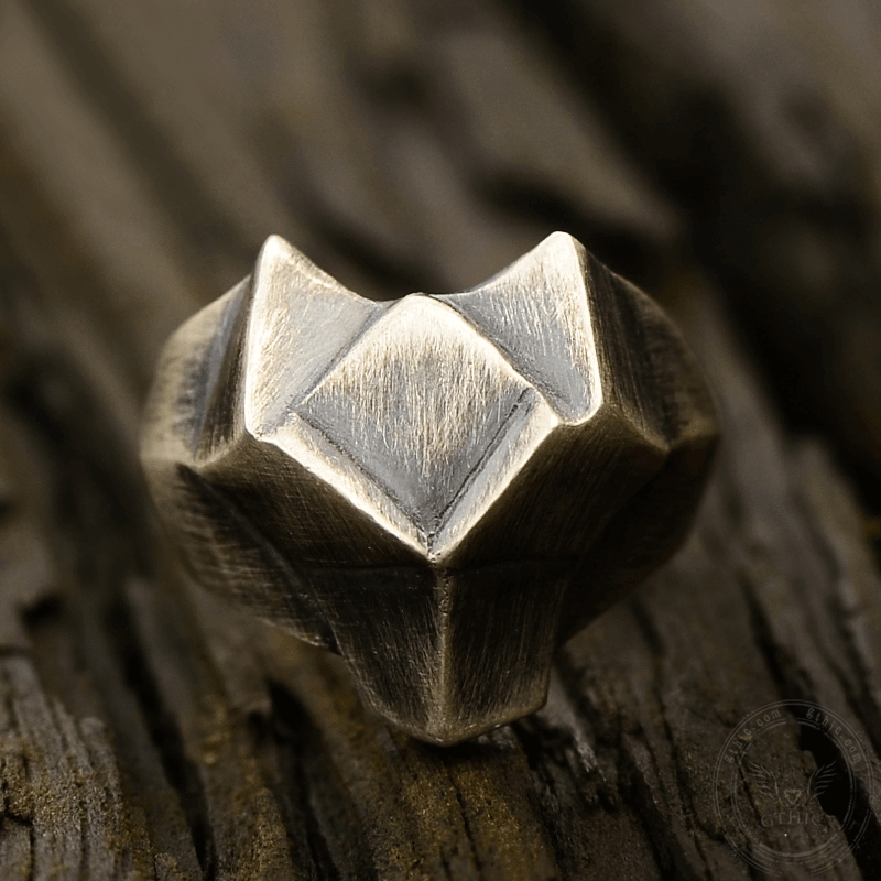 Faceted Fox Head Sterling Silver Biker Ring