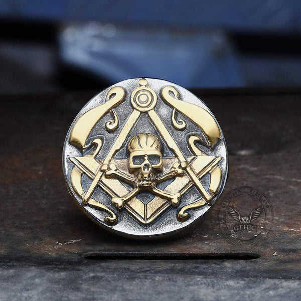 Freemason Crossbones Stainless Steel Masonic Skull Ring