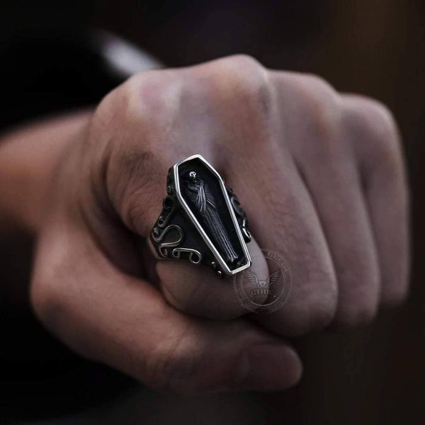 Funeral Vampire Coffin Stainless Steel Skull Ring