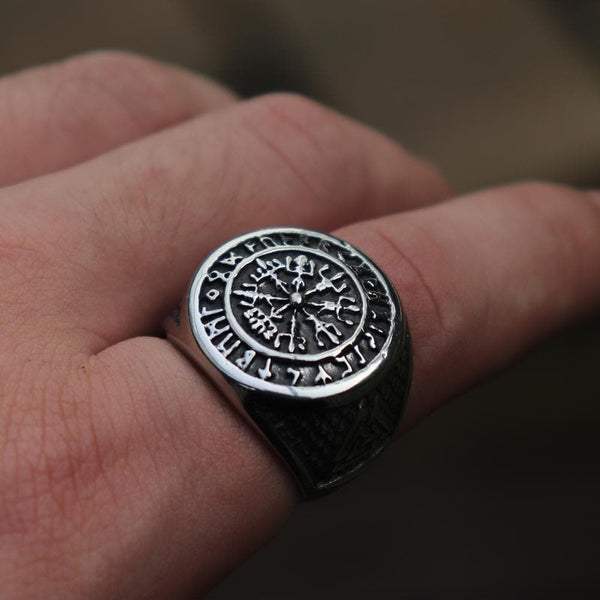 Futhark Runes Compass Viking Ring