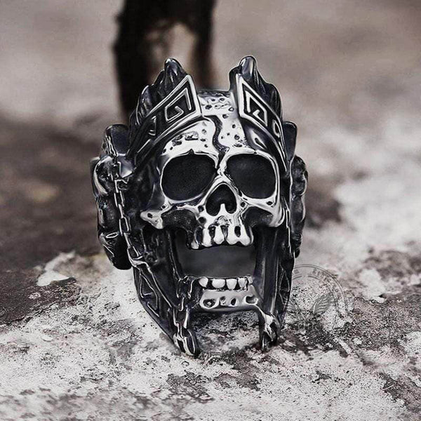 God of War Ares Stainless Steel Skull Ring | Gthic.com