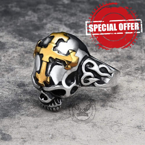 Hell Cross Stainless Steel Skull Ring
