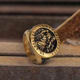 Saint Christopher Protect Us Stainless Steel Cross Ring