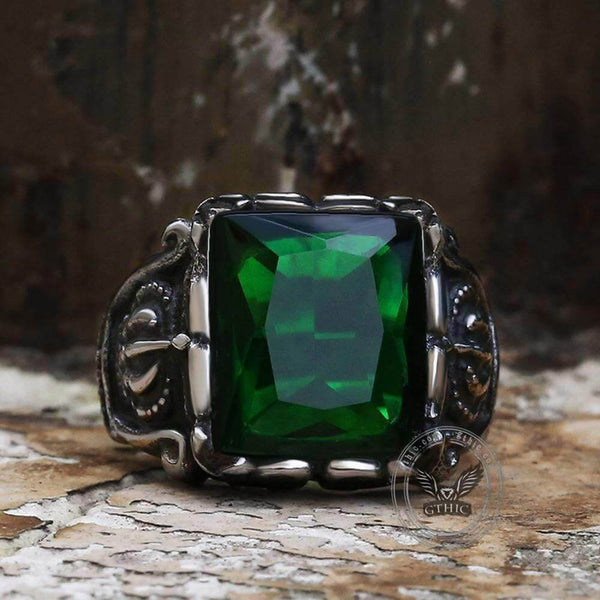 Gothic Crown Stainless Steel CZ Ring