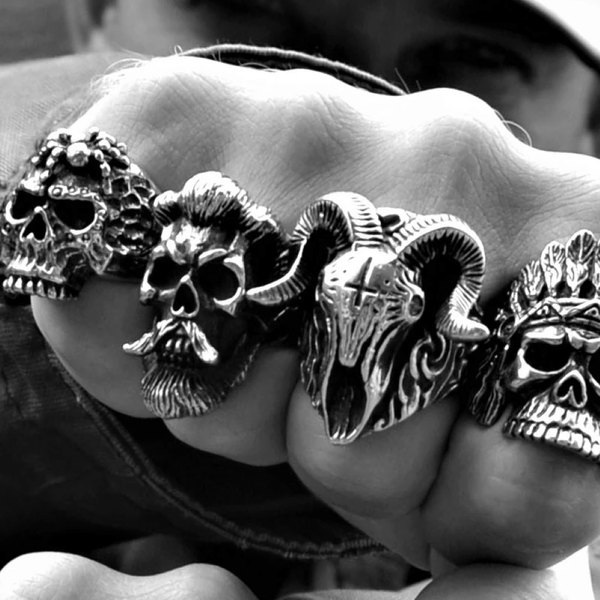 Gothic Demon Biker Skull Ring
