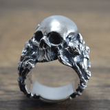 Gothic Gargoyle Flower Stainless Steel Skull Ring