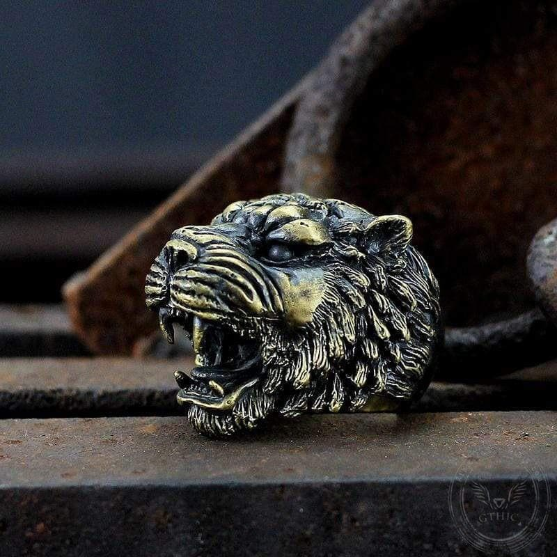 Growling Tiger Brass Ring
