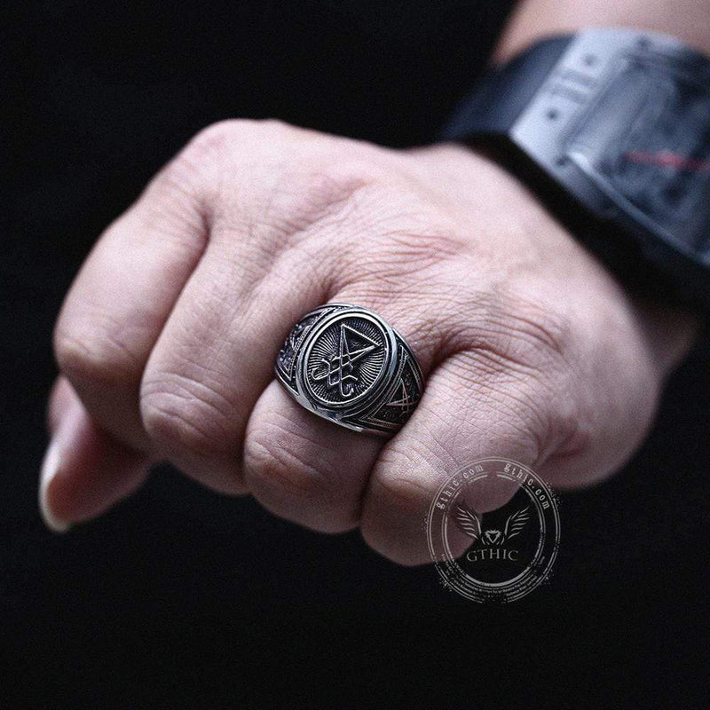 GTHIC Sigil Of Lucifer Stainless Steel Ring