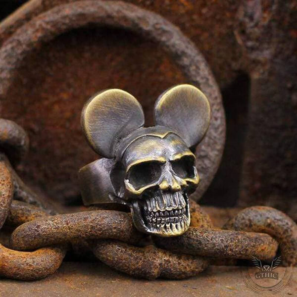 Harley Mickey Brass Skull Ring