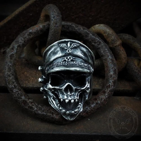 Harley Military Cap Sterling Silver Skull Ring