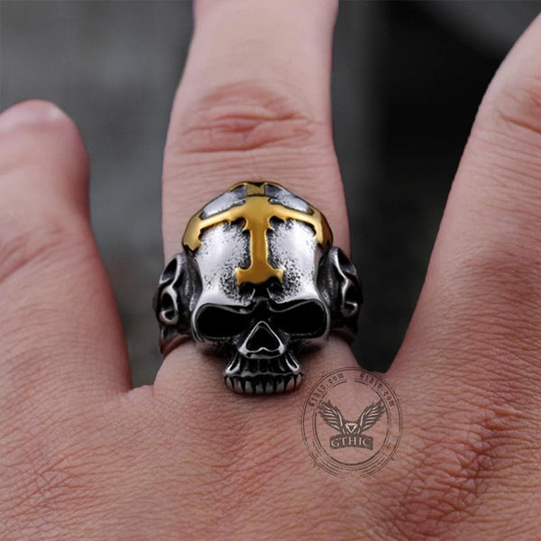 Hell Cross Stainless Steel Skull Ring | Gthic.com