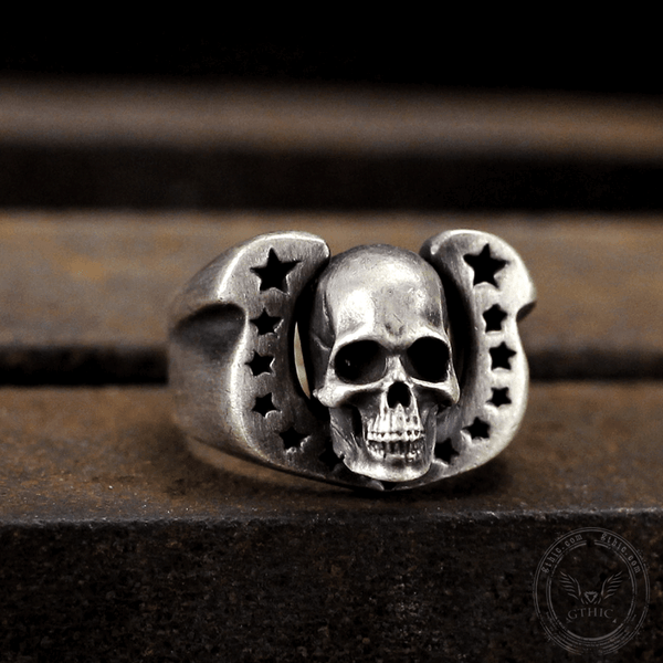 Horseshoe Pentagram Sterling Silver Skull Ring