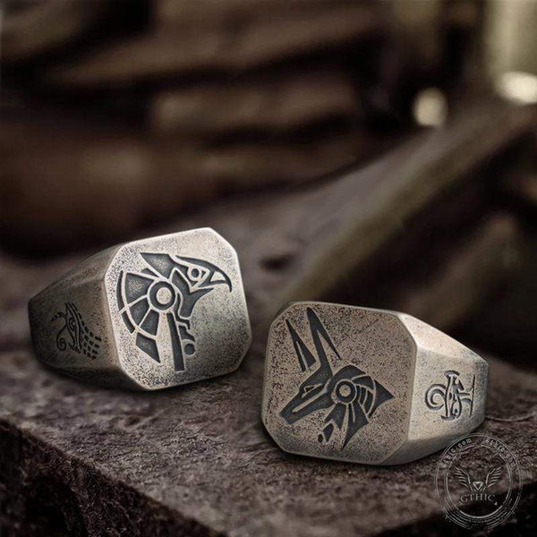 Horus And Anubis Sterling Silver Ring