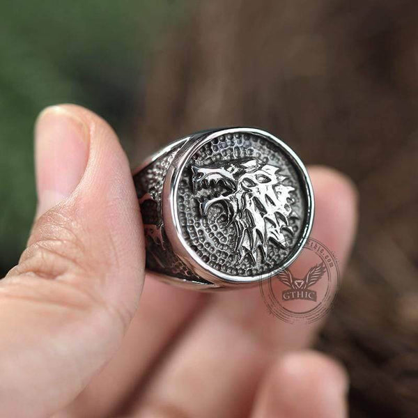 House Stark Direwolf Stainless Steel Ring | Gthic.com