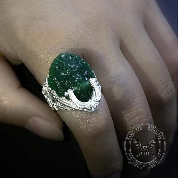 Jade Lion Sterling Silver Auspicious Cloud Ring