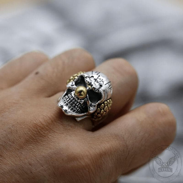 Joker Sterling Silver Skull Ring