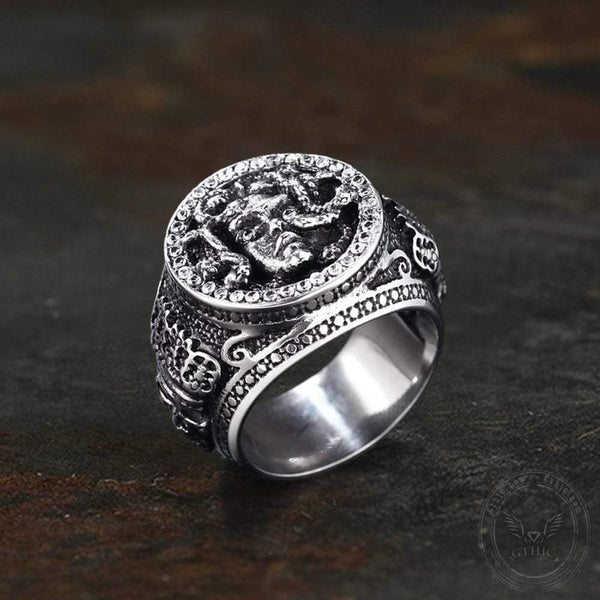 Medusa Stainless Steel CZ Mythology Ring