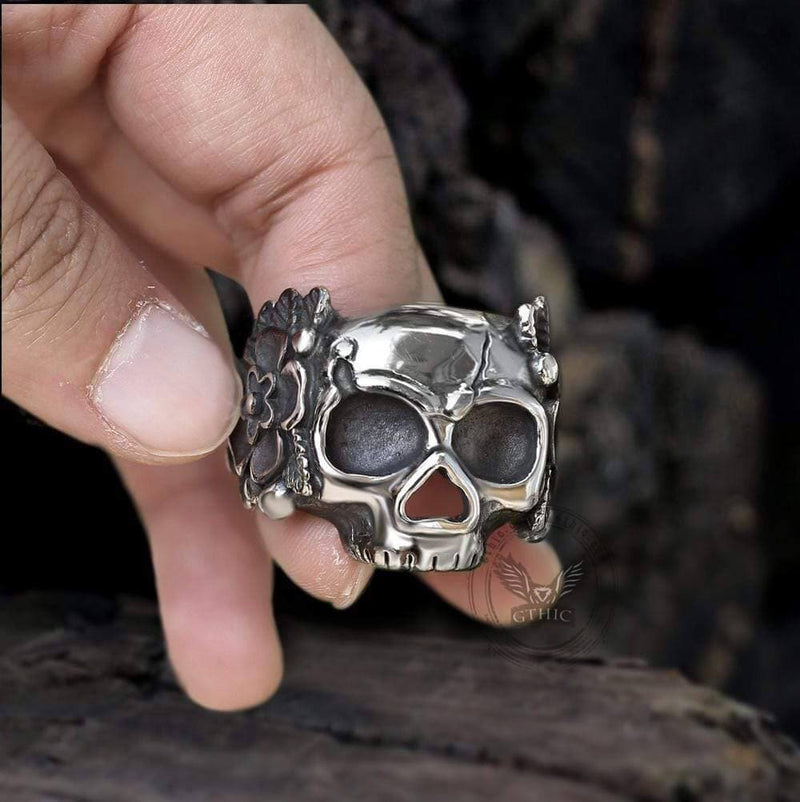 Mexican Flower Stainless Steel Sugar Skull Ring