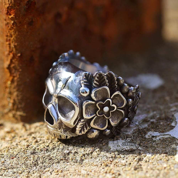 Mexican Flower Sugar Stainless Steel Skull Ring