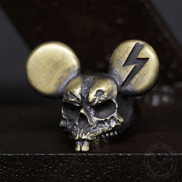 Mickey Brass Skull Ring