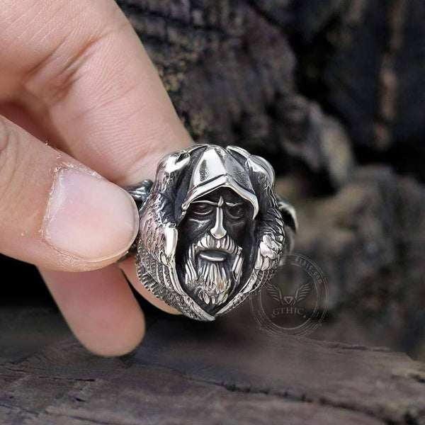 Mythology Odin Wolf Stainless Steel Viking Ring
