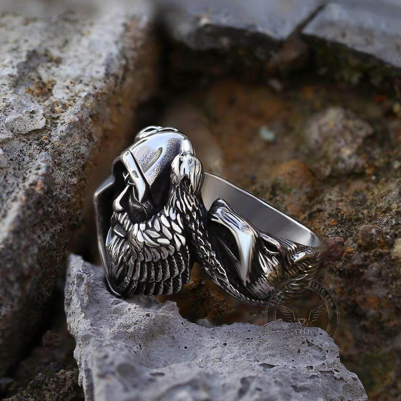 Mythology Odin Wolf Stainless Steel Viking Ring | Gthic.com