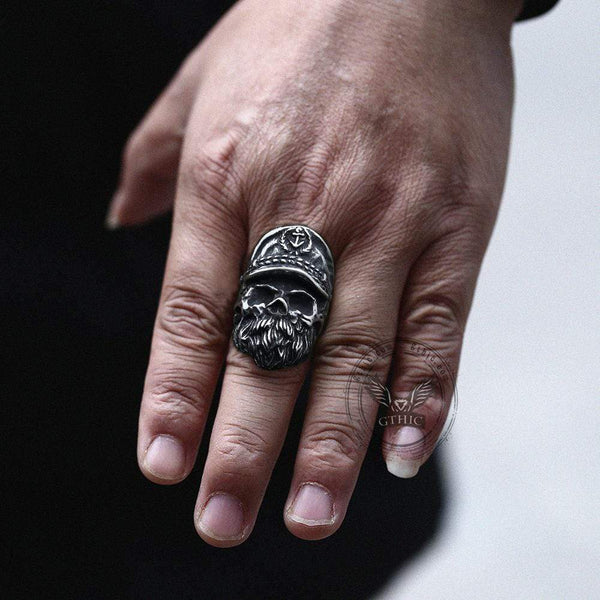 Navy Captain Stainless Steel Skull Ring
