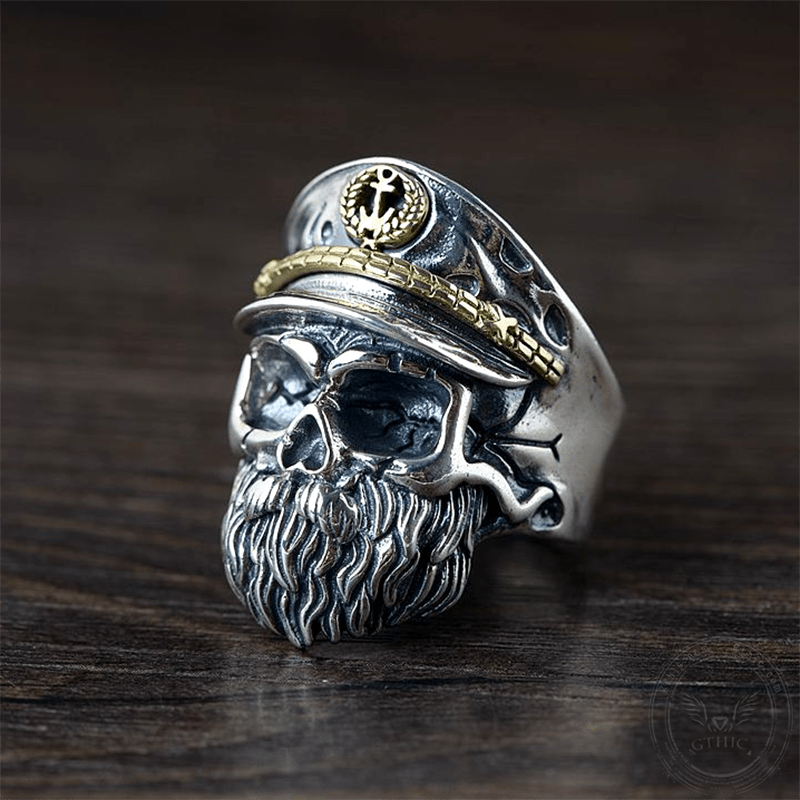 Navy Captain Sterling Silver Skull Ring | Gthic.com