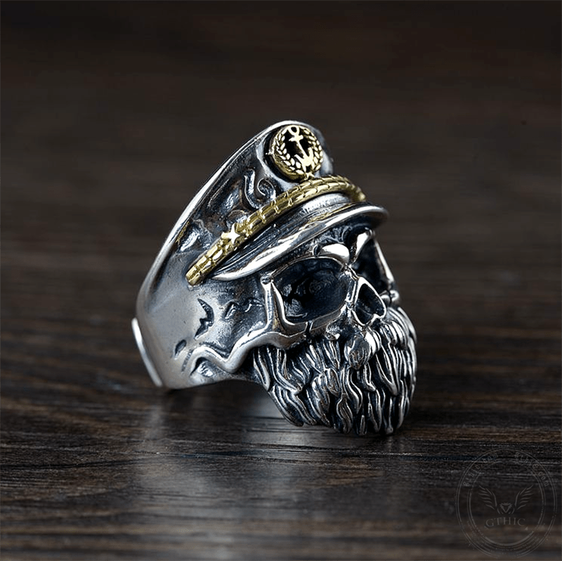 Navy Captain Sterling Silver Skull Ring