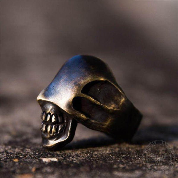 No Face Man Brass Skull Ring