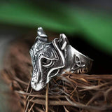 Nordic Wolf Stainless Steel Viking Ring | Gthic.com