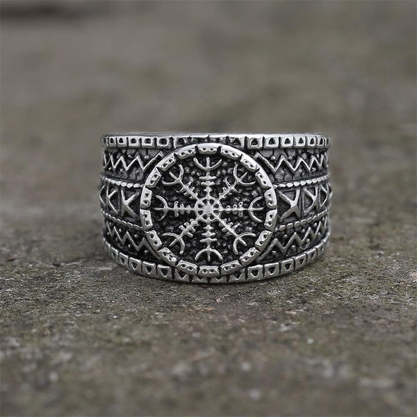 "Norse Helm of Awe ""Aegishjalmr"" Stainless Steel Viking Ring"