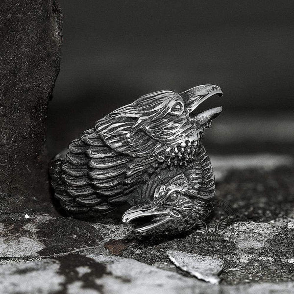 Odin Ravens Huginn and Munin Stainless Steel Viking Ring | Gthic.com