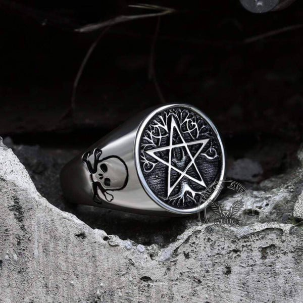Pentagram Tree of Life Stainless Steel Viking Ring